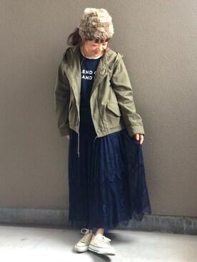 ちぃさんの「Ray BEAMS / レースシアー ギャザースカート(Ray BEAMS|レイビームス)」を使ったコーディネート