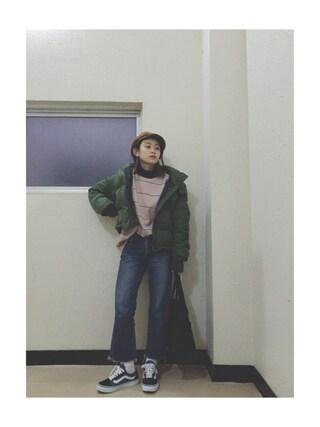 高橋愛さんの「ショートボリュームダウンジャケット(MURUA|ムルーア)」を使ったコーディネート