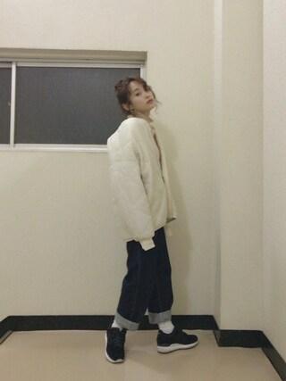高橋愛さんの「PBP 素肌に贅沢 カシミア混のオーガニックコットン袖ぷっくりリブニット(haco!|ハコ)」を使ったコーディネート