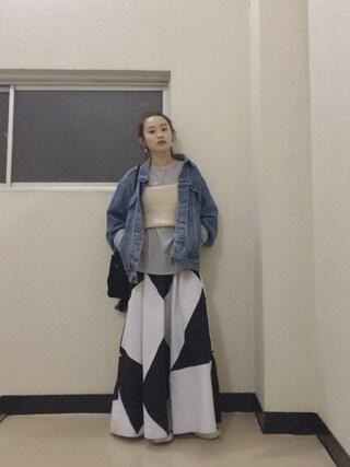 高橋愛さんの「SUEDE BUCKET BAG(MILKFED.|ミルクフェド)」を使ったコーディネート
