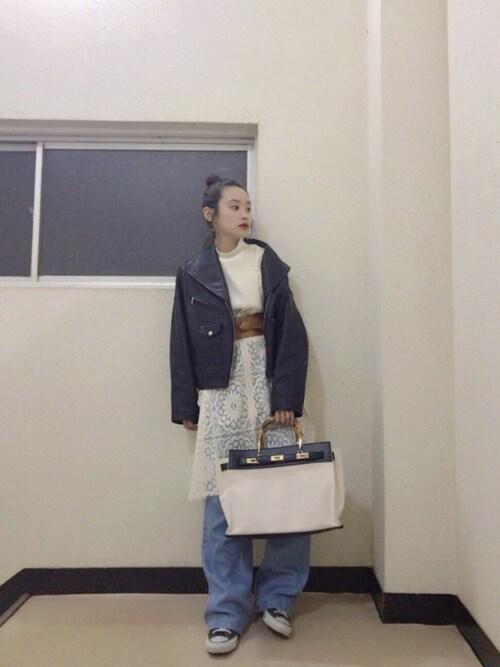 高橋愛さんの「【ViVi10月号掲載】DROP DOWN LEATHER JK(RIM.ARK)」を使ったコーディネート