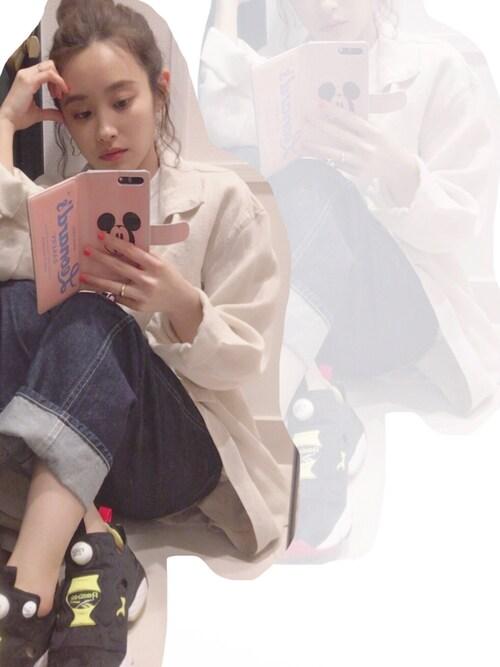 高橋愛さんの「KBF シアートレンチ(KBF)」を使ったコーディネート
