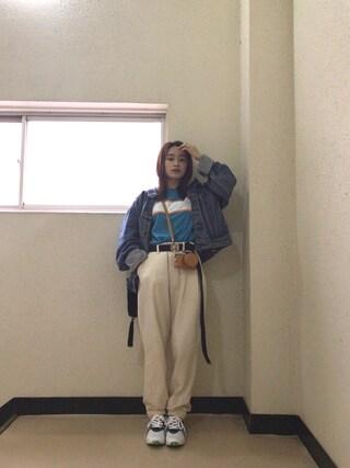 「STRIPED LOGO REGULAR S/S TEE(X-girl)」 using this 高橋愛 looks