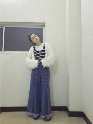 「りぼんワイドデニムパンツ(merry jenny)」 using this 高橋愛 looks