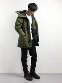 「DOWN DAVIDSON PARKA OLIVE NIGHT(Levi's)」 using this REN looks