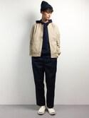 RENさんの「[GIORDANO]スプリングストレッチナイロンMA-1ジャケット(GIORDANO|ジョルダーノ)」を使ったコーディネート