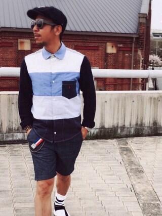 TAKAOさんの「コットン ジャージー Vネック Tシャツ(DENIM & SUPPLY デニム&サプライ)」を使ったコーディネート