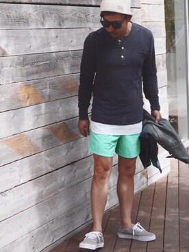 DENIM & SUPPLY RALPH LAUREN TAKAOさんのTシャツ/カットソー「フラッグプラケット ジャージー ヘンリー(Denim & Supply Ralph Lauren デニム&サプライ)」を使ったコーディネート