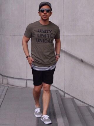 TAKAOさんの「コットン ジャージー グラフィック Tシャツ(Denim & Supply Ralph Lauren デニム&サプライ)」を使ったコーディネート
