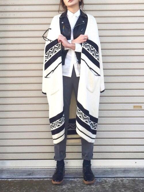 B.さんの「【beautiful people】vintage leather riders jacket ライダースジャケット(beautiful people)」を使ったコーディネート