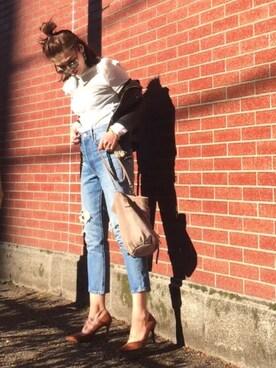 B.さんの「【beautiful people】vintage leather riders jacket ライダースジャケット(beautiful people|ビューティフルピープル)」を使ったコーディネート