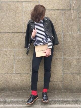B.さんの「【beautiful people】vintage leather riders jacket ライダースジャケット(beautiful people ビューティフルピープル)」を使ったコーディネート