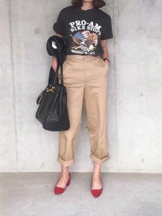 B.さんの「ロックTシャツ(THE SHINZONE ザ シンゾーン)」を使ったコーディネート
