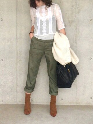 B.さんの「LEVI'S(R) MADE&CRAFTED(TM)-BLOUSE BRIGHT WHITE(Levi's|リーバイス)」を使ったコーディネート