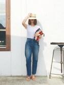 B.さんの「【Hanes/ヘインズ】ウィメンズ ジャパンフィット【2枚組】クルーネックTシャツ Japan Fit for HER(HANES ヘインズ)」を使ったコーディネート