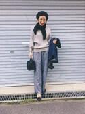 NANAさんの「PBP 素肌に贅沢 カシミア混のオーガニックコットン袖ぷっくりリブニット(haco!|ハコ)」を使ったコーディネート