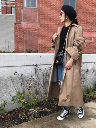 「	ボウカフトレンチコート(LE CIEL BLEU)」 using this NANA looks