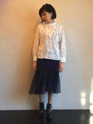 MIDWEST TOKYO WOMEN|kawamuraさんの「AKIRA NAKA 『Sija』レース切替スタンドカラーブラウス(AKIRA NAKA|アキラナカ)」を使ったコーディネート