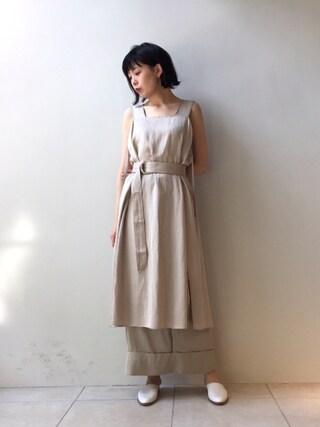 MIDWEST TOKYO WOMEN|kawamuraさんの「RITO レーヨンリネンエプロンドレス(RITO|リト)」を使ったコーディネート