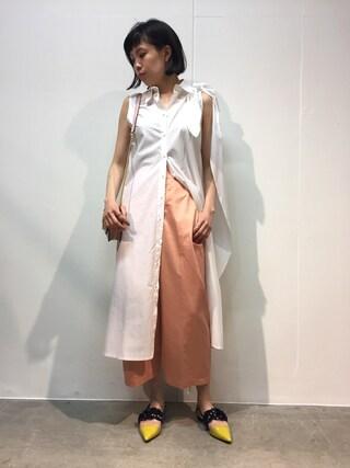 MIDWEST TOKYO WOMEN|kawamuraさんの「MM6 Maison Margiela ノースリーブロングシャツワンピース(MM6|エムエムシックス)」を使ったコーディネート