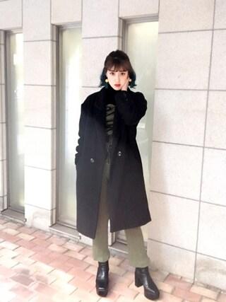 夏焼雅さんの「SQUARE CUT CHELSEA BOOTS(EMODA|エモダ)」を使ったコーディネート