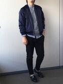 kitsune_tkさんの「MEN エクストラファインメリノVネックセーター(長袖)(ユニクロ|ユニクロ)」を使ったコーディネート