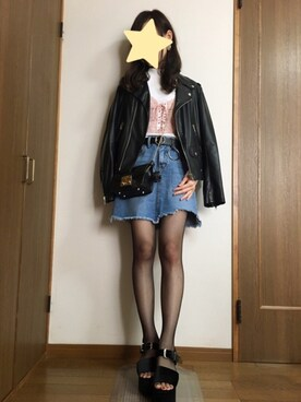 nanamiさんの「フェイクレザーライダースジャケット(OZOC)」を使ったコーディネート