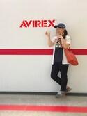 円花(♡)さんの「AVIREX×NEW ERA/ アヴィレックス×ニューエラ/ 9TWENTY/ POLO CAP AVIREX U.S.A FLAG/ ポロキャップ AVIREXアメリカ国旗(AVIREX|アヴィレックス)」を使ったコーディネート