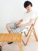 KRIFF MAYERさんの「ラクチー[LUCK TI] (Tシャツ+クロップドパンツ セットアップ/ルームウェア/パジャマ)(KRIFF MAYER|クリフメイヤー)」を使ったコーディネート