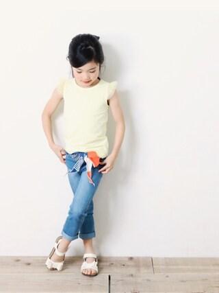 「チュール袖ノースリーブTシャツ(devirock)」 using this devirock|devirock looks