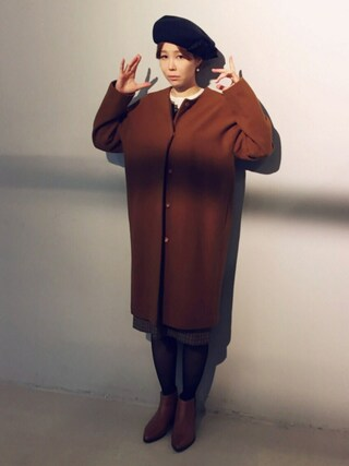 MEGさんの「【予約】CAROLINA GLASER / リボン ベレー帽(CAROLINA GLASER|カロリナ グレイサー)」を使ったコーディネート