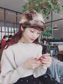 安中亜美さんの「21Wシャツコールドットプリントフレアースカート(CHILD WOMAN|チャイルドウーマン)」を使ったコーディネート