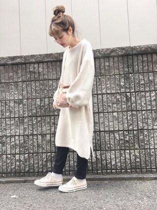「バルーンスリーブニットワンピース0013(merlot)」 using this 安中亜美 looks