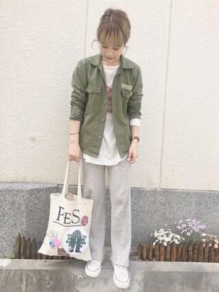 「ワッフルロングスリットLS/729974(JEANASIS)」 using this 安中亜美 looks