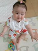 with Sunnyさんの「『COTTON CANDY』半袖ストロベリープリント(HAKKA BABY|ハッカベビー)」を使ったコーディネート