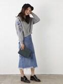Natsumi  Moritaさんの「ランダムヘムパッチワークスカート(AZUL by moussy|アズールバイマウジー)」を使ったコーディネート