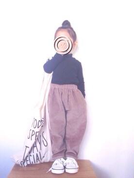 suuu☺︎さんの「GIRLS リブハイネックT(長袖)(UNIQLO|ユニクロ)」を使ったコーディネート