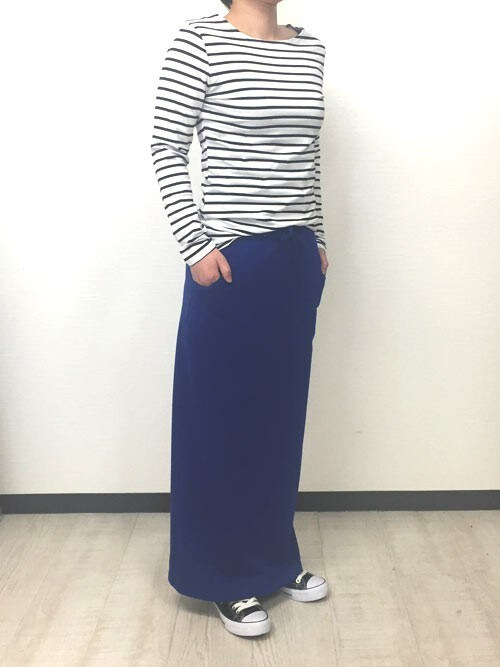 ssさんの「ボートネックボーダーTシャツ(aimoha)」を使ったコーディネート