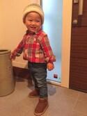 SAKUさんの「【coen kids】ウィンターリネンチェックシャツ(100~150cm)(coen|コーエン)」を使ったコーディネート