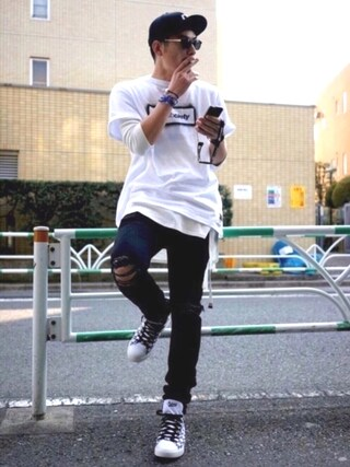 """Subciety HEADQUARTER Subciety_ZOZOTOWNさんの「【TOKYO POSTEXCHANGE  × Subciety】HAND STENCIL TEE """"THE BASE""""(Subciety サブサエティ)」を使ったコーディネート"""