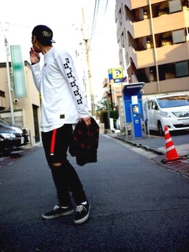 Subciety HEADQUARTER|Subciety_ZOZOTOWNさんの「THE BASE L/S-CHECKER-(Subciety)」を使ったコーディネート