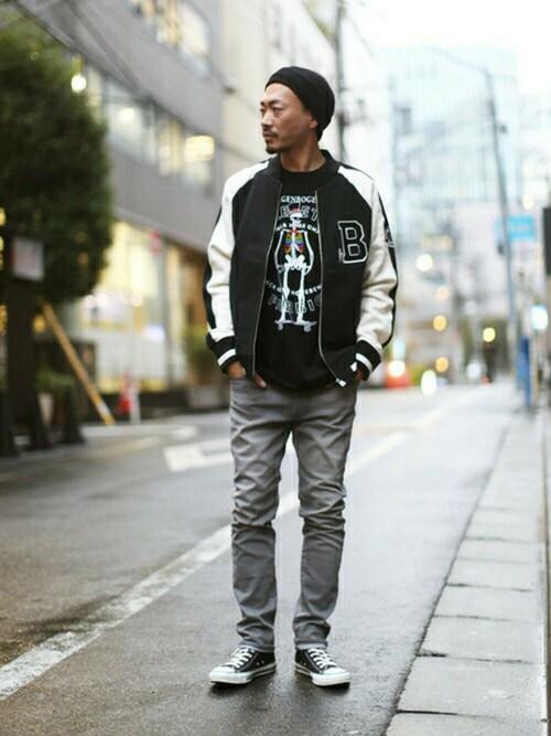 mitsuruさんの「スウェットスーベニアジャケット/ビューティフルシャドープレイングタイポ(graniph)」を使ったコーディネート