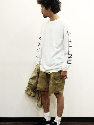 """twothings&thinkさんの「THE FABRIC (ザ・ファブリック) """" UNITED FRONT L/S TEE """" Exclusive(THE FABRIC)」を使ったコーディネート"""