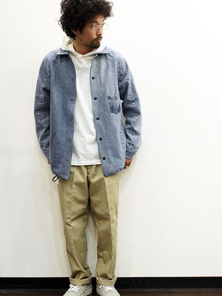 """twothings&thinkさんの「ink (インク) 505 Denim Coach Jacket """" CITY OF G """"(ink インク)」を使ったコーディネート"""