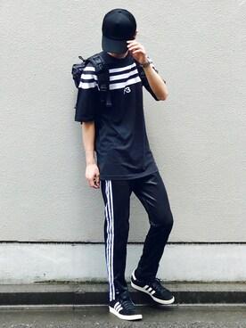 Kazuさんの「Y-3 TRUCK BLACK HAT(Y-3 ワイスリー)」を使ったコーディネート