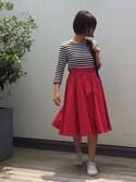 SHIBAさんの「<ZOZO限定カラー登場!>カラー タックギャザーミディスカート(laboratory work|ラボラトリーワーク)」を使ったコーディネート