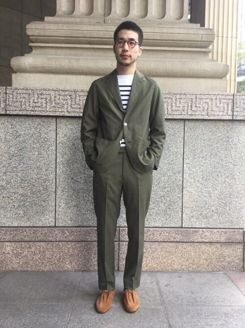 Bshop 神戸本店YASUKURAさんのTシャツ/カットソー「ラッセル フレンチセーラーTシャツBLK MEN(ORCIVAL|オーシバル)」を使ったコーディネート