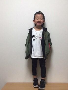 Right-on|sousuke  さんのTシャツ/カットソー「【PEANUTS】5分袖Tシャツ(SNOOPY|スヌーピー)」を使ったコーディネート