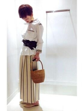 SHIPS 札幌店|古森さんの「スタンドカラー刺繍シャツ◇(SHIPS for women)」を使ったコーディネート