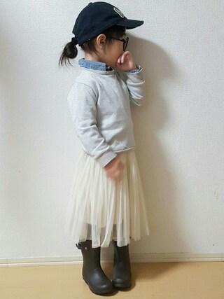 miiiiiri*さんの「チュールプリーツスカート/728519(GLOBAL WORK|グローバルワーク)」を使ったコーディネート